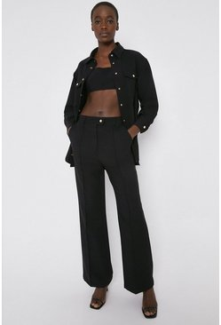 Black Twill Waisted Slim Flare Trouser
