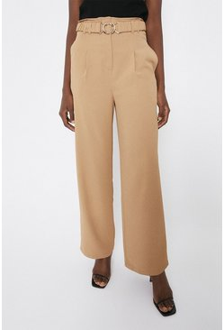Camel Elasticated Gold Buckle Wide Leg