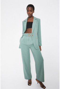 Sage Elasticated Gold Buckle Wide Leg