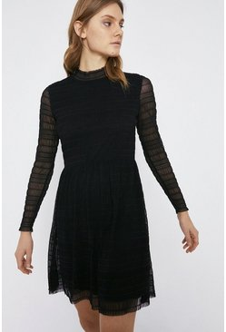 Black Shirred Mesh Funnel Neck Short Dress