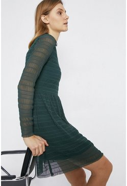 Dark green Shirred Funnel Neck Short Dress