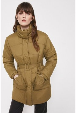 Khaki Padded Funnel Neck Belted Coat