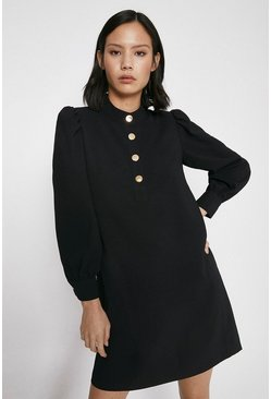 Black Gold Button Crepe Shift