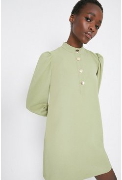 Sage Gold Button Crepe Shift