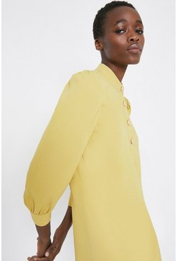 Sand Gold Button Crepe Shift