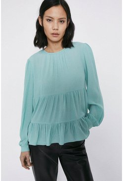 Mint Tiered Long Sleeve Top