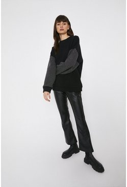 Black Slouchy Hotfix Sleeve Sweat