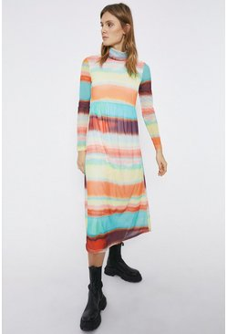 Multi Roll Neck Printed Dress