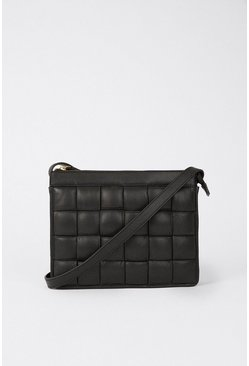 Black Real Leather Square Weave Bag