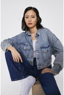 Blue Cropped Boxy Washed Denim Jacket