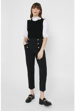 Black Crepe Slim Trouser With Gold Buttons