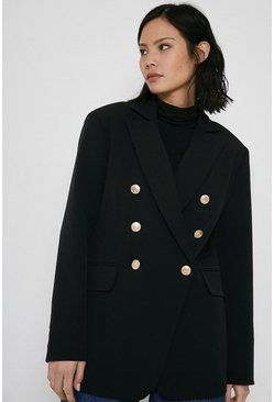 Black Blazer With Gold Military Buttons