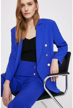 Cobalt Blazer With Gold Military Buttons