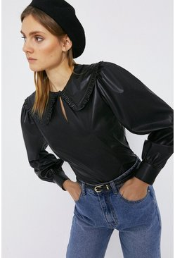 Black Faux Leather Top With Frill Detail Collar