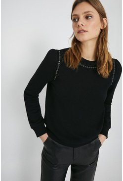Black Embellished Trim Sweat