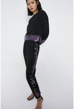 Black Sequin Panel Joggers
