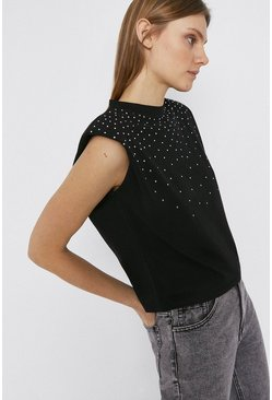 Black Hot Fix Lip Shoulder T-Shirt