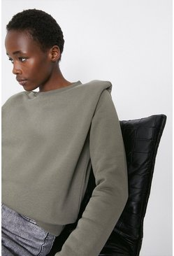 Khaki Lip Shoulder Sweatshirt