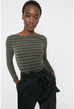 Khaki Stripe Slash Neck Top