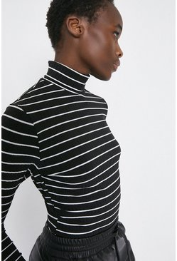 Black Stripe Rib Roll Neck Top