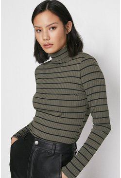 Khaki Stripe Rib Roll Neck Top