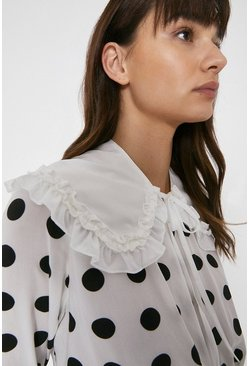 White Ruffle Detail Detatchable Collar