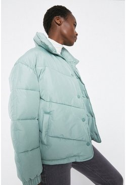 Sage Arrow Quilted Popper Front Padded Jacket