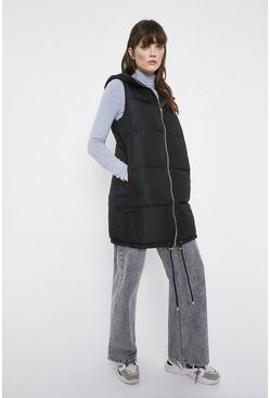 Black Sleeveless Long Line Padded Jacket