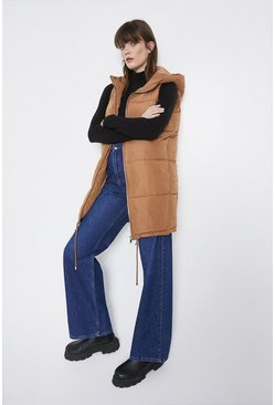 Toffee Sleeveless Long Line Padded Jacket