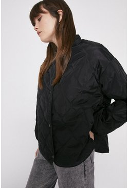 Black Nylon Quilted Liner Jacket