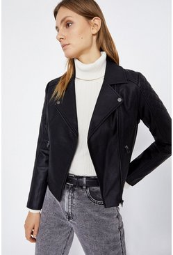 Black Quilted Shoulder Faux Leather Biker Jacket