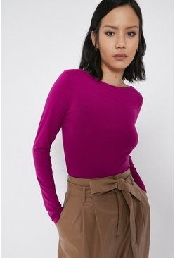 Hot pink Slash Neck Long Sleeve Top