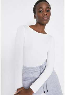 Ivory Slash Neck Long Sleeve Top