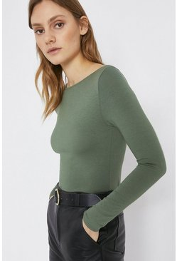Khaki Slash Neck Long Sleeve Top