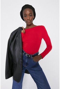 Red Slash Neck Long Sleeve Top