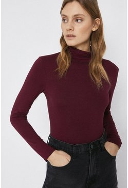 Berry Long Sleeve Roll Neck Top