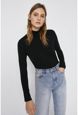 Black Long Sleeve Roll Neck Top