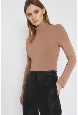 Camel Long Sleeve Roll Neck Top