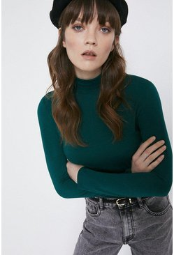 Dark green Long Sleeve Roll Neck Top