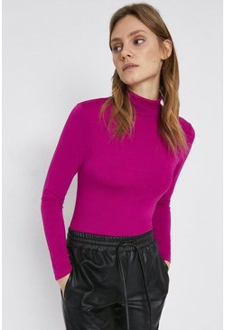 Hot pink Long Sleeve Roll Neck Top