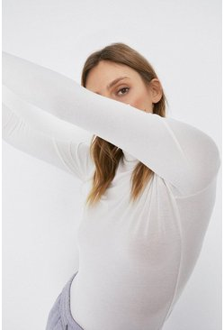 Ivory Long Sleeve Roll Neck Top