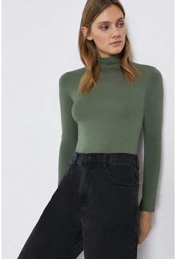 Khaki Long Sleeve Roll Neck Top