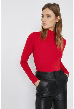 Red Long Sleeve Roll Neck Top