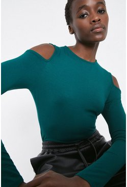 Dark green Cold Shoulder Top