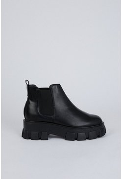 Black Chunky Ankle Pull On Boot