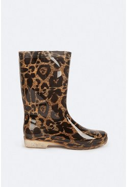 Brown Animal Print Welly