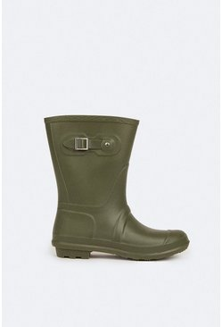 Khaki Short Wellington Boot