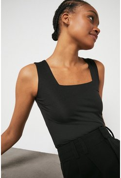 Black Square Neck Fitted Vest