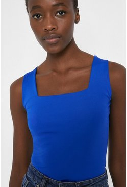 Blue Square Neck Fitted Vest