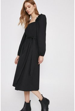 Black Cotton Poplin Midi Dress With Square Neck